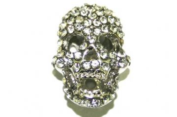 Rhodium Skull Beads - Suitable For pave crystal Bracelets - Set With Rhinestones